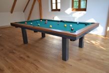 Kulečník SLIM pool biliard 7,5ft, Masiv/Kov - jídelní stůl