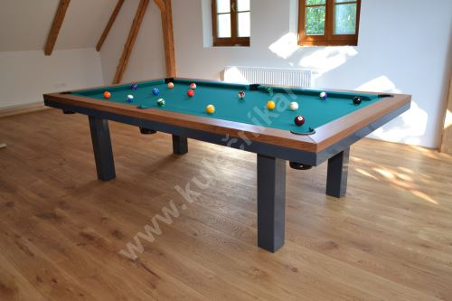 Kulečník SLIM pool biliard, Masiv/Kov - jídelní stůl