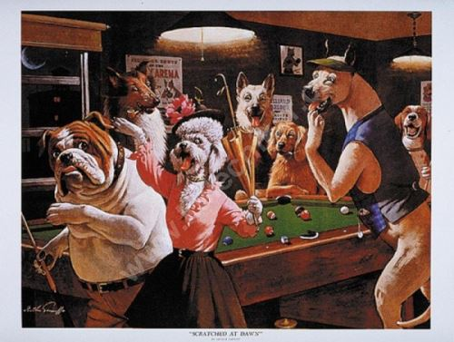 Billiard Poster Dogs - Scratched at Dawn