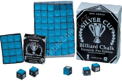 Billiard chalk on the cue SILVER CUP - blue, 144 pcs