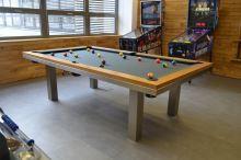 Kulečník pool billiard SLIM 8ft, Masiv/Nerez - jídelní stůl