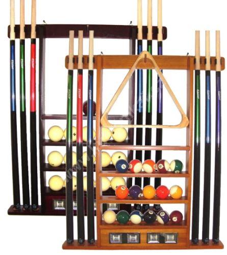Wall rack for 6 cues + mahogany counter