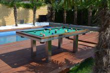 Kulečník pool billiard SLIM 6ft, Masiv/Nerez - jídelní stůl
