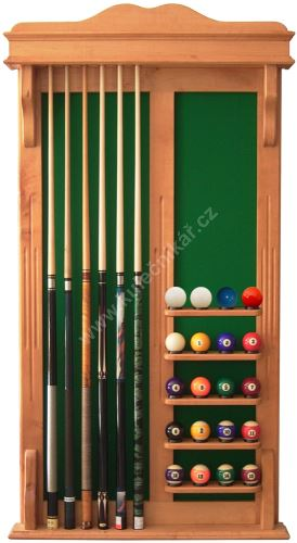 Wall-mounted rack STANDARD UNIVERSAL 6 cues + 16 + 4 balls