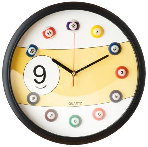 Kulečníkové hodiny 9 BALL, Yellow, Billiard Clock
