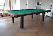 Kulečník SLIM pool biliard 9ft, Masiv/Kov - jídelní stůl