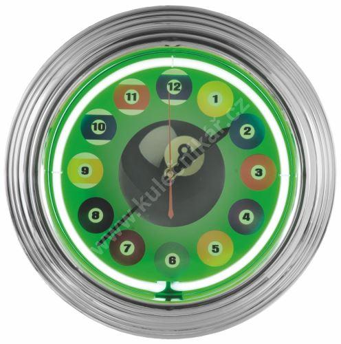 Kulečníkové hodiny NEON Billiard Clock 12 Ball