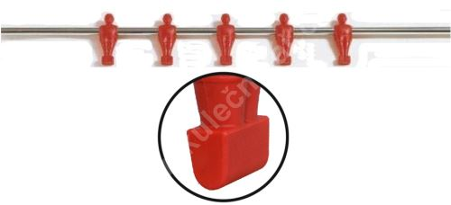 Tyč na stolní fotbal - 5 hráčů, červená