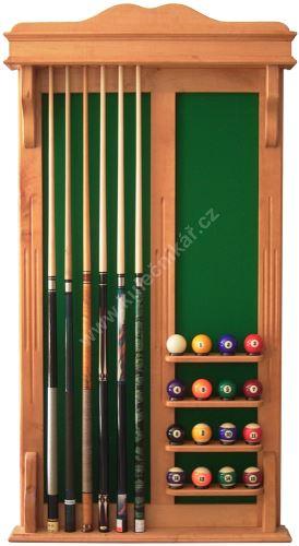 Wall-mounted rack STANDARD POOL cues 6 + 16 balls