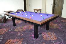 Kulečník SLIM pool biliard 8ft, Lamino/Kov - jídelní stůl