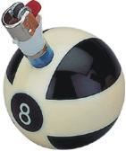 Stand lighter or pencil - the motif of a pool 8-ball.