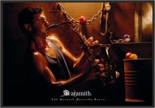 Aramith Billiard painting, saxophone player and pool