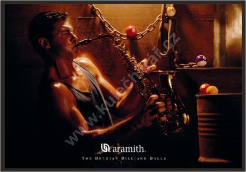 Aramith Billiard poster, saxophone player and pool