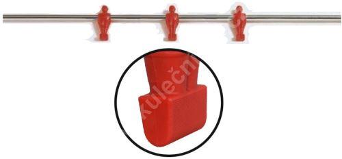 Tyč na stolní fotbal - 3 hráči, červená