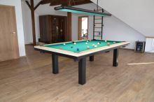 Kulečník SLIM pool biliard 8ft, Masiv/Kov - jídelní stůl