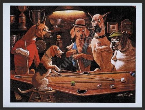Billiard poster Dogs - Beagel play