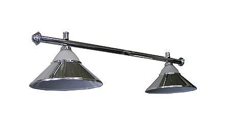 Kulečníková lampa silver stříbrná - 2 širmy + sklo