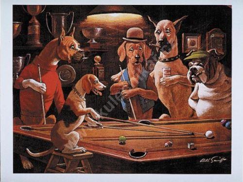 Billiard poster Dogs - Beagel play