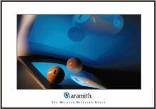 Aramith Billiard glazed picture, Ball and monitor