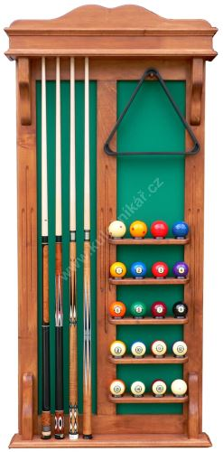 Wall-mounted rack STANDARD UNIVERSAL cues 4 + 16 + 4 Balls