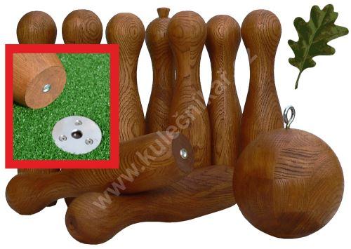 Dřevěné ruské zahradní kuželky SADA FIX BALL, Dub
