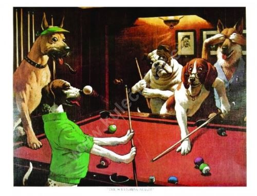 Billiard Poster Dogs - The Scratching Beagle