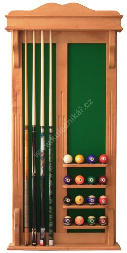 Wall-mounted rack STANDARD POOL cues 4 + 16 balls