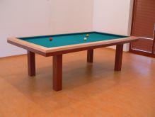 Kulečník karambol SLIM 210, Masiv/Kov- jídelní stůl