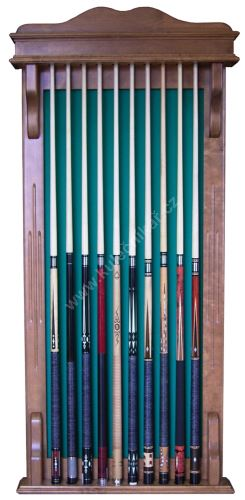 Wall-mounted rack for 10 STANDARD cues
