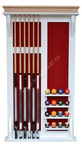 Wall-mounted rack MODERN POOL cues 4 + 16 balls