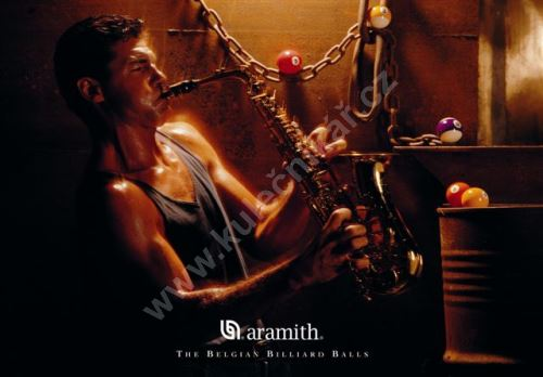 Aramith Billiard poster, saxophone player and pool