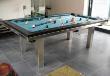 Kulečník pool billiard SLIM 7,5ft, Lamino/Nerez - jídelní stůl