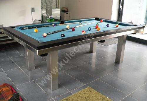 Kulečník pool billiard SLIM Lamino/Nerez - jídelní stůl